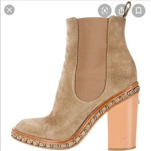 Chanel taupe suede 36.5 booties